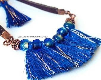 Bohemian Necklace | Boho Necklace | Gypsy Blue Tassel Necklace