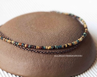 Bohemian Anklet, Boho Anklet, Rustic Anklet, Picasso Copper Anklet - Large or Small Beads