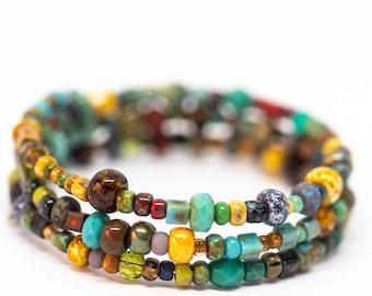 Boho Bracelet, Bohemian Bracelet, Memory Wire Picasso Signature Bracelet