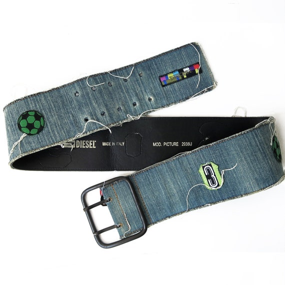Jeans Belt, Patch, leather belt, High waist,  Blue