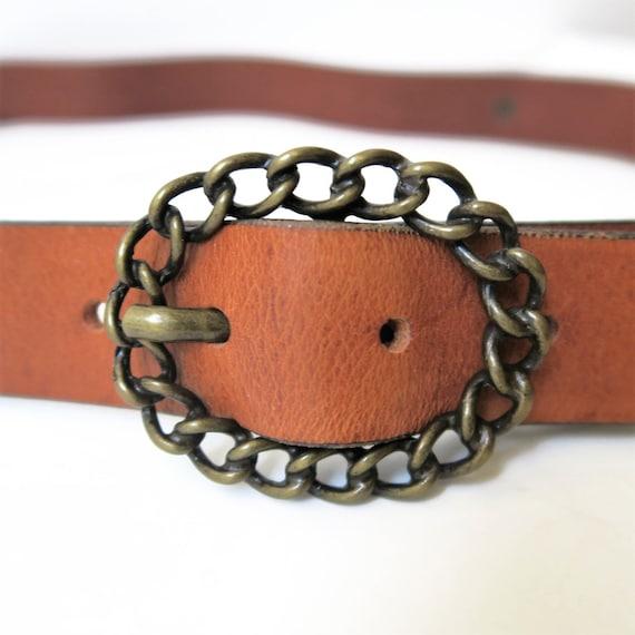 Diesel, Leather Belt, Chain buckle, Woman Belt, Br