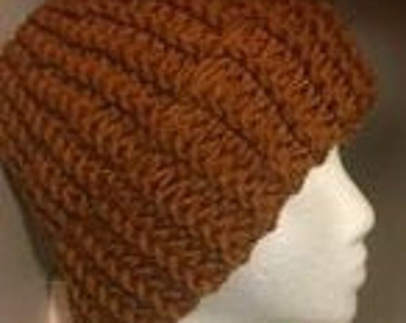 Copper Beanie, HandKnit, Unisex, Green, other colours available