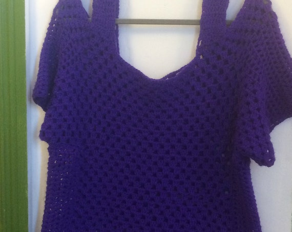 Ladies Hand Crochet Purple Top