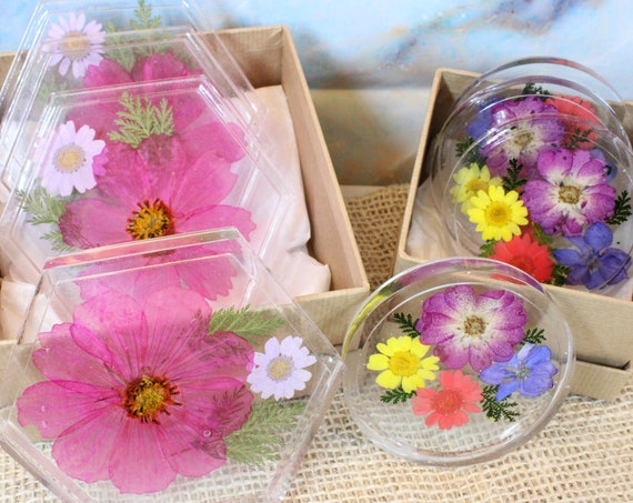 Flower Coaster sets, Resin Art, by Aoife bring a little spring in to your home