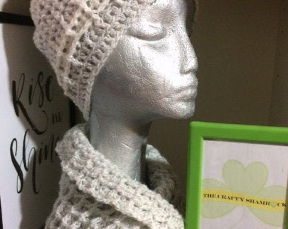 Ladies Hat,Cowl, Gift, Crochet, Handmade, silver and white