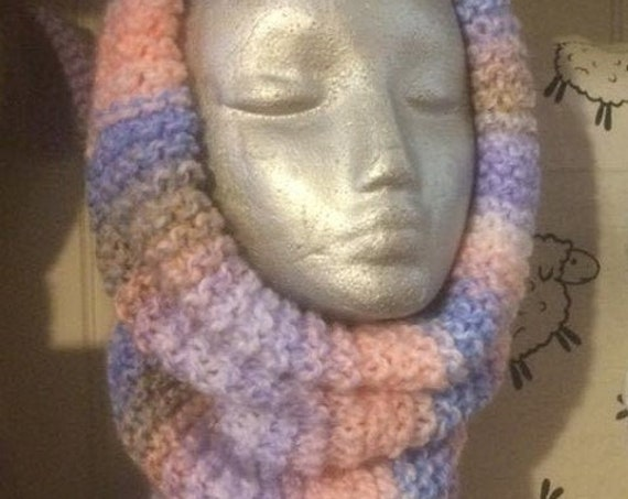 Snood, Cowl, Green, Blue, Pink Tweed, Pink Purple Beige Mix, Etsy Ireland, Wear it your way,
