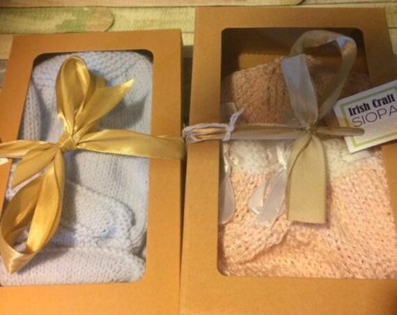 BabyGift, Hat & Booties Set,  Irish HandKnit, avail White/Blue/Pink, New Baby -9months