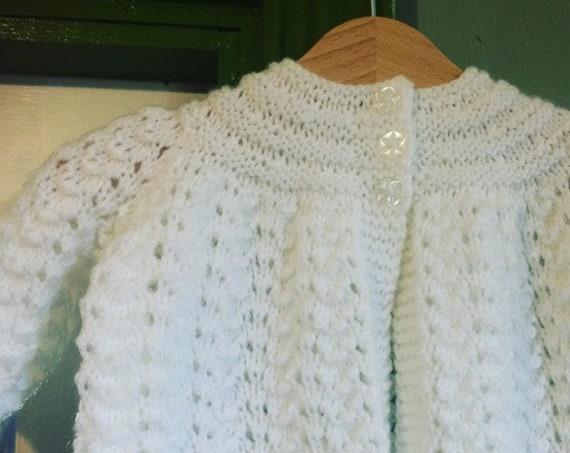 Baby Hand knit Cardigan, Maitnee Coat,  White, Beige, Peach, Baby Gift