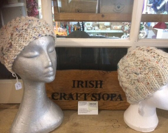 His and Hers Hat and HeadBand Set Tweed Beige Irish Hand Knit Aran