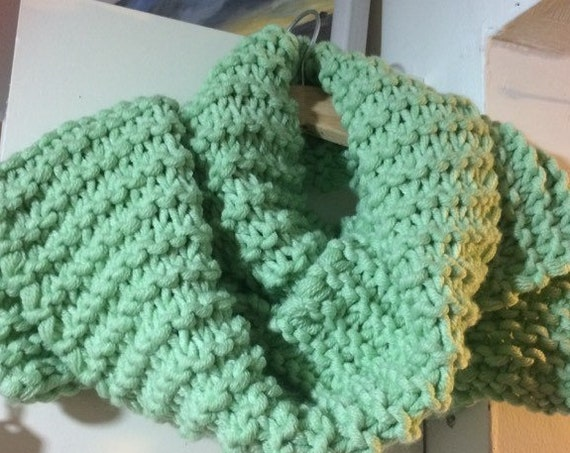 Green Chunky Scarf, HandKnit in Ireland, Soft and Cosy Wear it your way