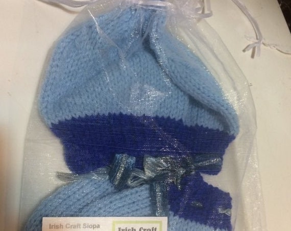 BabyGift, Hat & Booties Set,  Irish HandKnit, avail White/Blue/Pink, New Baby -9months