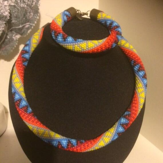 Rainbow Jewellery Handmade Crochet beaded Necklace & Bracelet set