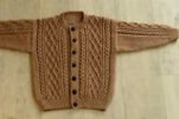 Aran Sweater Cardigan, Kids, 2-4yrs Tan, Beige, Handknit