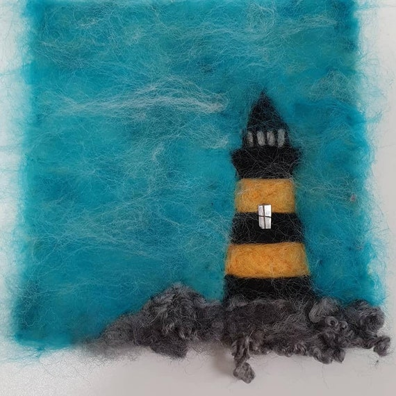 Light House Picture Handcrafted Needle Felt by Sandra Handmade