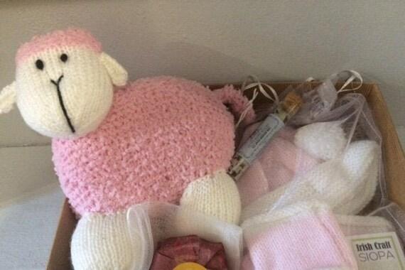 Handmade Baby Gift, Gifts Irish Made Sheep, Hat & Booties Set