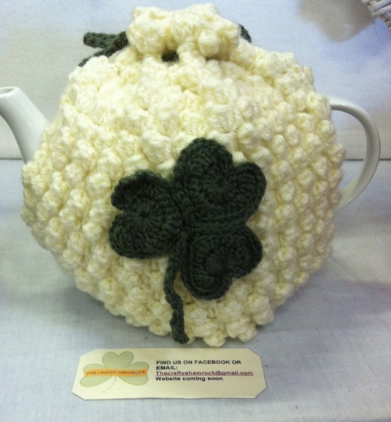 EtsyIreland, Crochet Cream Tea Cozy with Shamrock detail Handmade