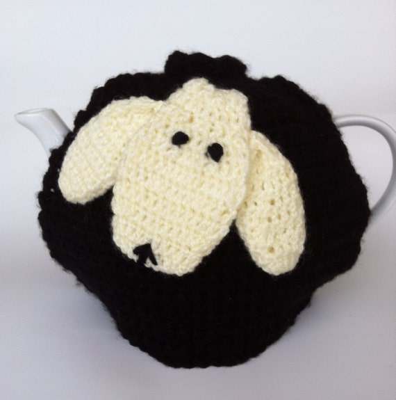 Sheep Tea Cozy IrishMade Crochet Black/white Tea Cosy detail, EtsyIreland