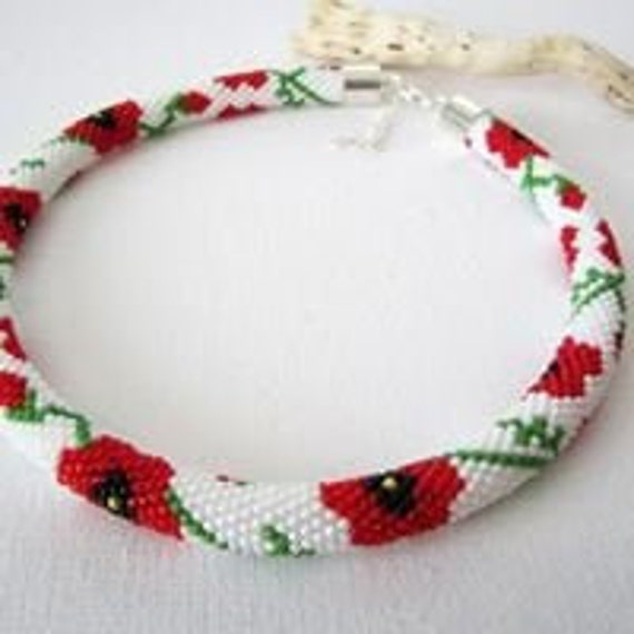 Poppy Necklace Crochet Beaded HandMade in Ireland custom orders welcome