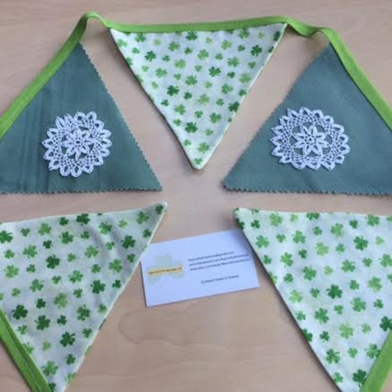 Shamrock Bunting, Doily Detail Irish Hand Made Décor, Made in Ireland Vintage