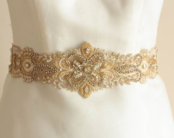 Bridal sash in gold -  Ivory Gold 28 to 29 inches  (Made to Order)