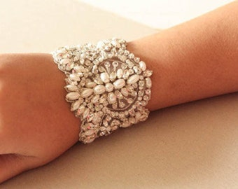 Beaded Wedding Bracelet - PARL  (Made to Order)
