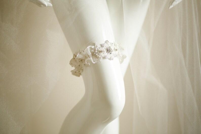 Heirloom Garters Custom bridal Garter Bridal Garter Set Wedding Garter Set Style Sunflower Beaded Bridal garter set Designer Garters