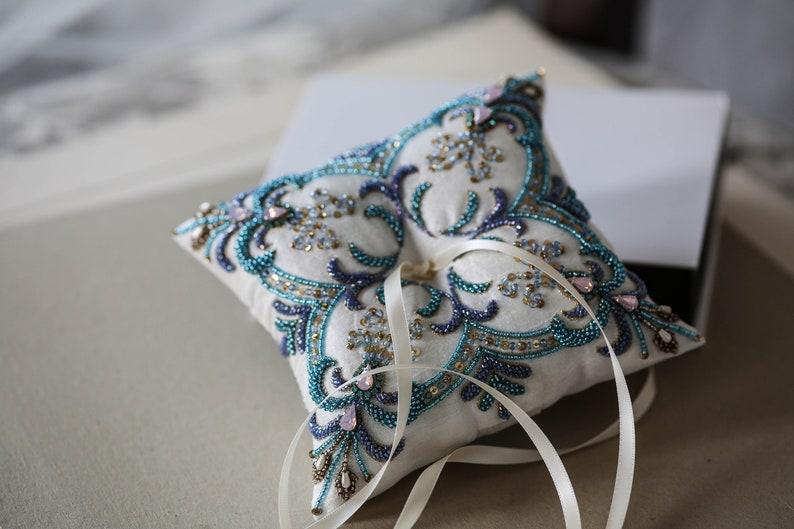 Ring Pillow Blue and Purple Custom Ring Bearer Pillow for Beach Wedding Beaded Ring Pillow
