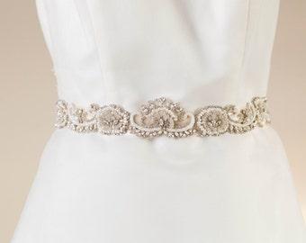 Offwhite and silver bridal sash, wedding sash - Style sash R32