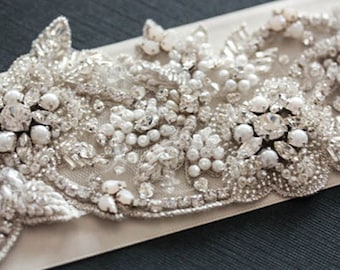 Pearl Bridal Belt, Wedding Belts Pearl, Bridal Dress belt with pearls swarovski and rhinestones, Style  - Flora 27 to 28 Inches