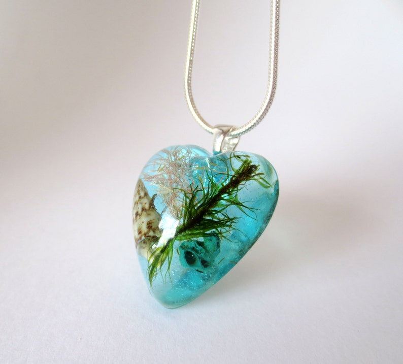 sterling silver 925 teal seashell real seaweed resin ocean summer nautical beach mermaid jewelry aqua  turquoise sea Ocean Heart Pendant