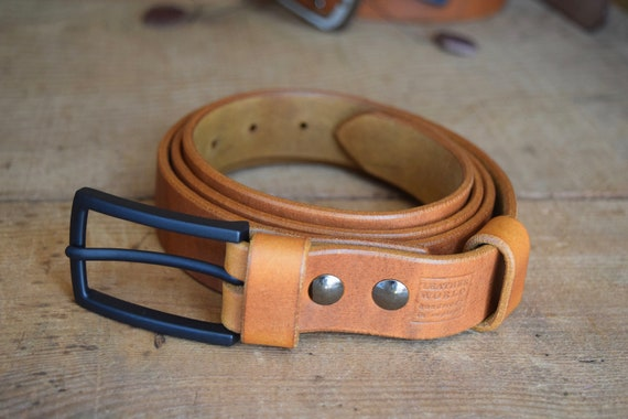 Men's Leather BELT Gift 30mm wide Saddle Tan colour Handmade Full Grain Leather with Buckle Classic Casual made in UK Trousers Belt