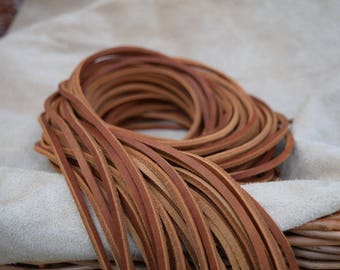 Saddle Tan Full Grain Leather 3.5mm Square Shoe / Boots Laces Thongs Extra Strong 120cm long. One Pair.