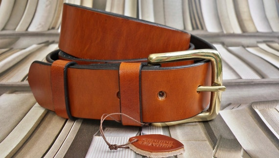 Handmade Solid Mens Full Grain Leather Trousers Belt Gift 38mm wide Saddle Tan with a brass buckle made in UK