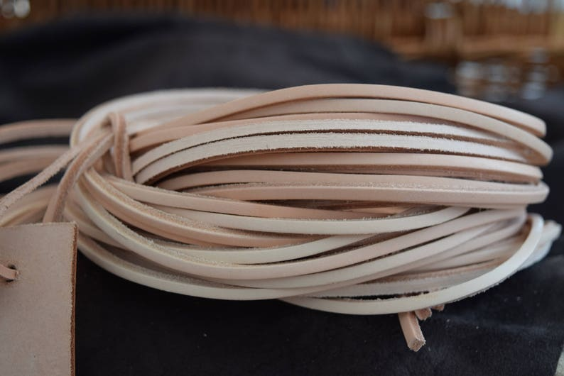 7f2296f40f797 Natural Leather 3.5mm Square Shoe / Boots Laces Thongs Extra Strong 180cm  Extra long. One Pair.