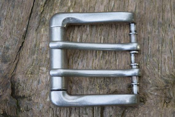 ca 40 mm Breite Massive Gürtelschnalle Schließe Schnalle Dunkel-Silber