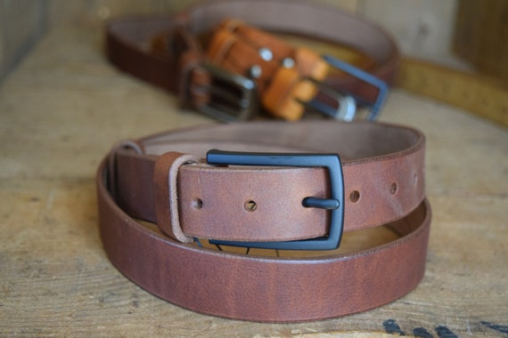 Handmade Solid Mens Full Grain Leather Trousers Belt 38mm wide Natural Leather Colour with a brass buckle made in UK