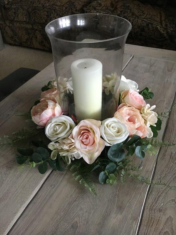 Ivory Floral Patterned Lantern Vase Candle Holder Wedding Table Centrepiece