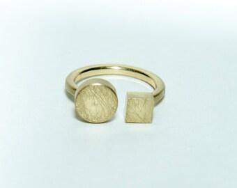 Handmade handbrushed geometric brass ring