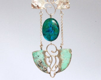 Create Miracles. Silver pendant necklace with patina finish and large Azurite gem stone. With green genuine leather cord. Free shipping