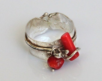 Silver Ring with Coral - One Size for All!!