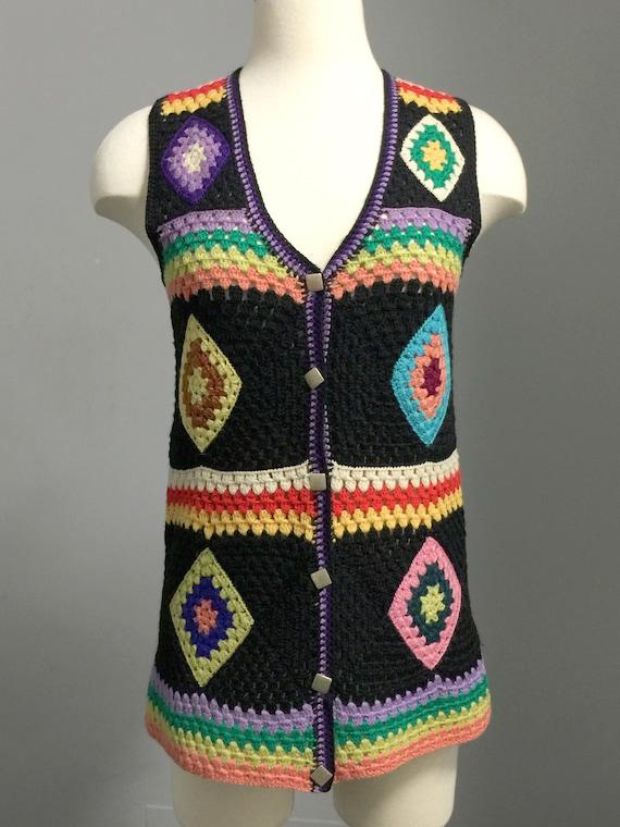 Vintage  70s Wool Handknit Crochet Black Multicolo