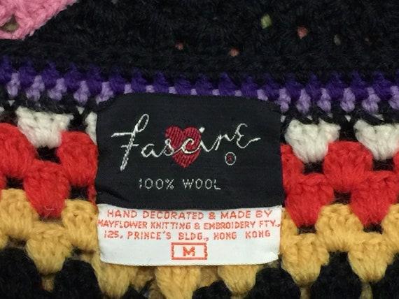 Vintage  70s Wool Handknit Crochet Black Multicol… - image 9