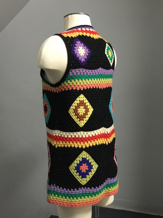 Vintage  70s Wool Handknit Crochet Black Multicol… - image 7