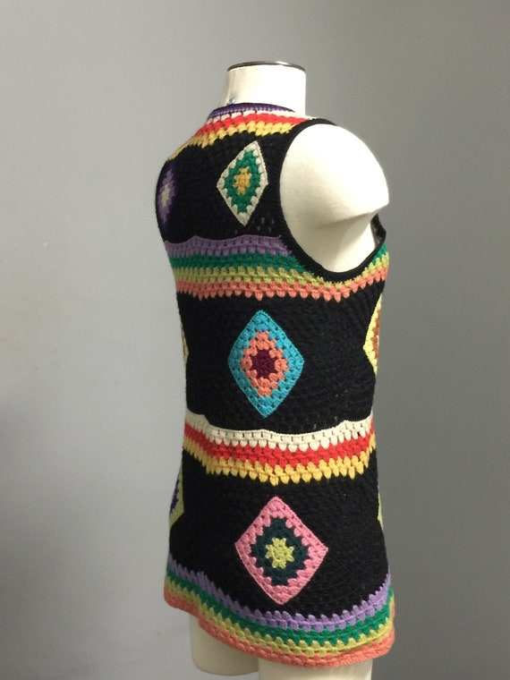 Vintage  70s Wool Handknit Crochet Black Multicol… - image 8