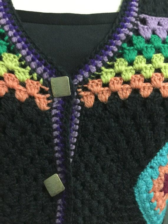 Vintage  70s Wool Handknit Crochet Black Multicol… - image 4