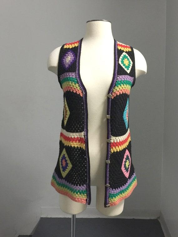 Vintage  70s Wool Handknit Crochet Black Multicol… - image 5