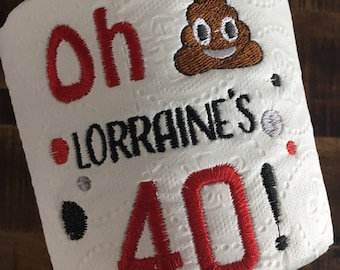 40th Birthday 50th 60th Embroidered Toilet Paper Gag Gift Party Decoration Gifts For Him