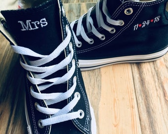 2f7382a56d86 Wedding Embroidered Monogrammed Converse Hi Top Sneakers