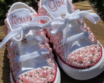Flower girl shoes, PEARL encrusted, Ring Bearer shoes, Chucks sneakers, Custom Kid sneakersConverse