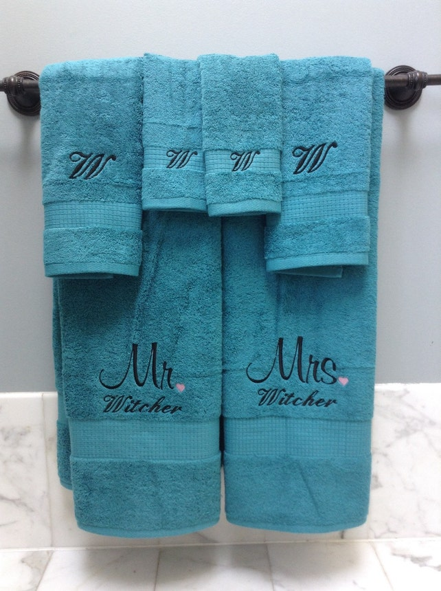 Embroidered Towels Monogrammed Towels Wedding Gift Towels Etsy